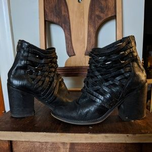Free People Black Carerra Woven Ankle Boot 37/6.5
